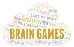 Brain Games word cloud. Wordcloud made with text only vector illustration