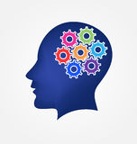 Brain gear head vector Royalty Free Stock Images