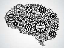 Brain gear. Isolated brain filled with gears from gray background Stock Images