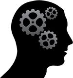 Brain of gears. Black silhouette of man head with some gears Royalty Free Stock Photography