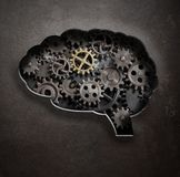 Brain gears and cogs concept 3d illustration vector illustration
