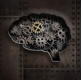 Brain gears and cogs concept 3d illustration Royalty Free Stock Image