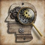 Brain gears and cogs. Mental illness, psychology. Mental illness or psychology or invention and idea concept stock illustration