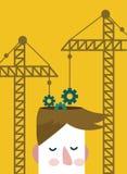 Brain gears construction. Stock Photos