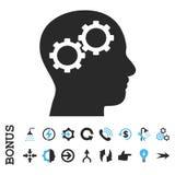 Brain Gears Flat Glyph Icon com bônus Foto de Stock Royalty Free