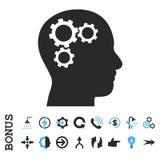 Brain Gears Flat Glyph Icon con prima Foto de archivo libre de regalías