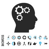 Brain Gears Flat Glyph Icon met Bonus Royalty-vrije Stock Foto