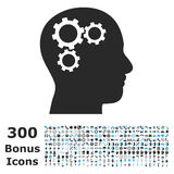 Brain Gears Flat Vector Icon avec la bonification Image libre de droits