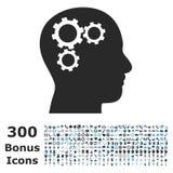 Brain Gears Flat Vector Icon met Bonus Royalty-vrije Stock Afbeelding
