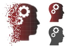 Brain Gears Icon de intervalo mínimo pontilhado de desintegração ilustração stock