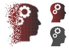 Brain Gears Icon di semitono punteggiato di disintegrazione illustrazione di stock