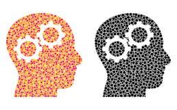 Brain Gears Mosaic Icons punteggiato illustrazione vettoriale