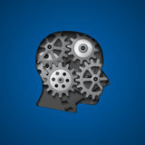 Brain gears. Picture of head silhouette with gears inside it for creativity, thinking, knowledge and brain concept royalty free illustration
