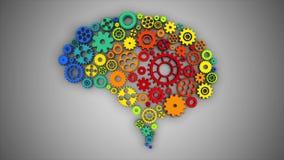 Brain Gears Rotating SÖMLÖS ÖGLA royaltyfri illustrationer
