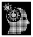 Brain Gears Rotation Icon tramé blanc illustration stock