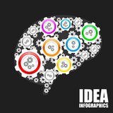 Brain gears sign Stock Images