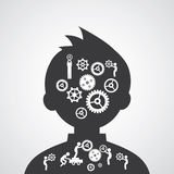 Brain gears symbol Royalty Free Stock Images