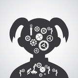 Brain gears symbol Stock Images