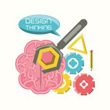 Design thinking concept. Brain with gears and tools icon over white background colorful design vector illustration Stock Image