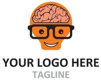 Brain Geek Idea cartoon Ilustration logo in Vector Royalty Free Stock Photos