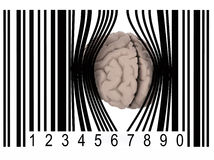 Brain that gets out from a bar code Royalty Free Stock Photo