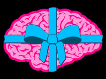 Brain gift with blue bow. On black Royalty Free Stock Photo