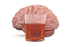 Brain and glass with alcohol drink, alcoholism concept. 3D. Rendering royalty free illustration