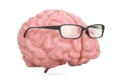Brain with glasses, smart concept. 3D. Rendering Royalty Free Stock Photography