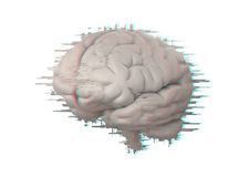Brain with glitch effect Royalty Free Stock Images