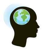 Brain and globe concept Royalty Free Stock Images