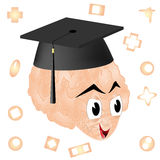 Brain with graduation cap Stock Photo
