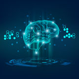 Brain. Graphic of a brain in technological look; abstract technological health care; digital blueprint of brain; 3D body part of human royalty free illustration