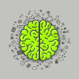 Brain green icons on a white background. Vector Stock Photography