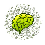 Brain green icons on a white background Stock Photography
