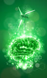 Brain - green technology concept Stock Photos