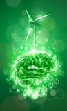 Brain - green technology concept Stock Photos