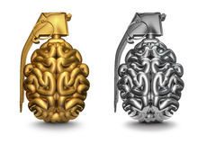 Brain grenade. 3D render of brain as grenade in gold and silver Stock Photography