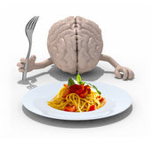 Brain with hands, fork in front of a spaghetti dish Royalty Free Stock Images