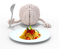 Brain with hands, fork in front of a spaghetti dish. Human brain with hands and fork in front of a spaghetti dish, 3d illustration Royalty Free Stock Image