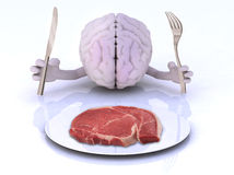 The brain with hands, utensils and steak. The brain with hands and utensils in front of an steak, 3d illustration Royalty Free Stock Photography