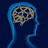 Brain head. Vector illustration of male head and inside brain icon Royalty Free Stock Images