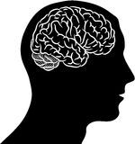 Brain in head. Black silhouette of man head with brain Royalty Free Stock Photography