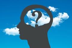 Brain Head com pergunta Fotos de Stock