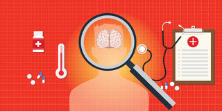 Brain or head disease with medical report. And medicine pils and capsule vector illustration