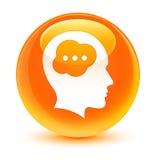 Brain head icon glassy orange round button Royalty Free Stock Photos
