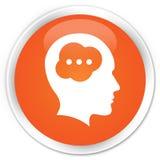 Brain head icon premium orange round button Stock Photography