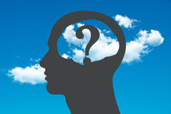 Brain Head with Question Stock Photos
