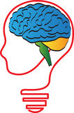 Brain head. A vector drawing represents brain head design Stock Images