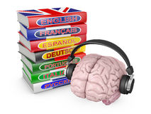 Brain with headphones and books Royalty Free Stock Photography