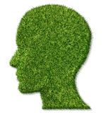Brain Health and Memory Function. Fighting dementia and alzheimer disease as a medical icon of a patch of green grass turf in the shape of a human head and Royalty Free Stock Image